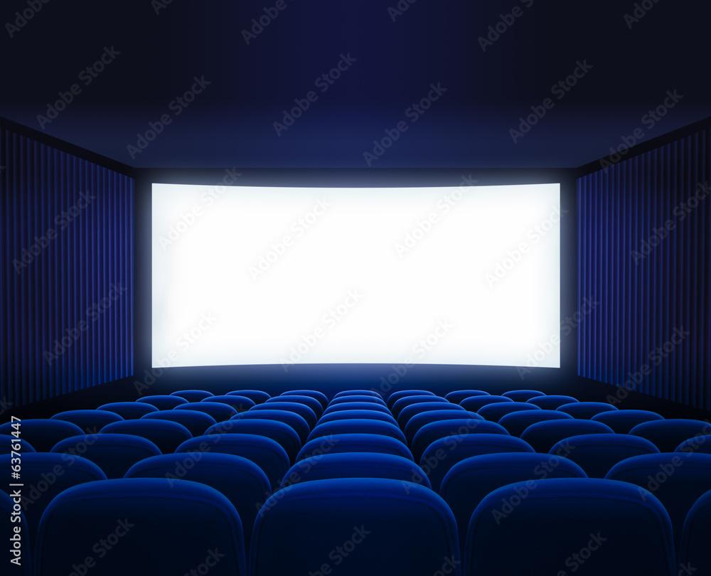blue cinema empty hall with blank screen for movie presentation
