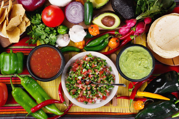 Fototapeta Do gastronomi Traditional mexican salsas