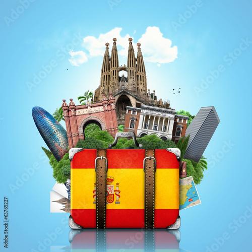 Naklejka premium Spain, landmarks Madrid and Barcelona, travel suitcase