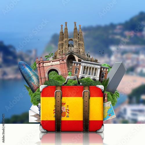 Canvas Prints Athens Spain, landmarks Madrid and Barcelona, travel suitcase