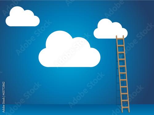 Foto  Cloud-Dienste mit Cloud und Leiter