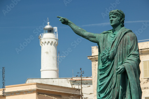 nero statue and lighthouse in Anzio, Italy Canvas Print