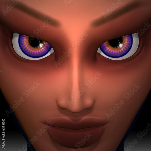 Mesmerizing Purple Eyes Girl Portrait