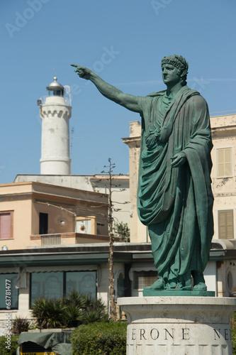 roman emperor Nero statue in Anzio, Italy Canvas Print
