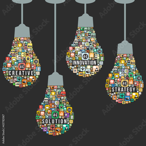 Fotografia  Light bulb design from icons infographics, vector format