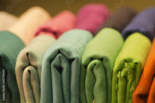 Foto op Canvas Stof Different colors silk fabric