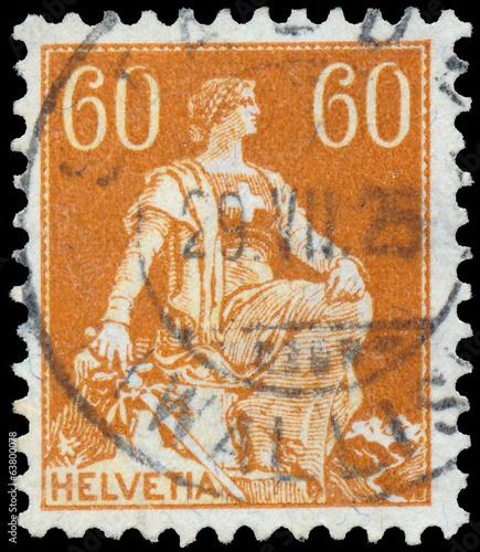 Fotografie, Obraz  Stamp printed by Switzerland, shows Helvetia