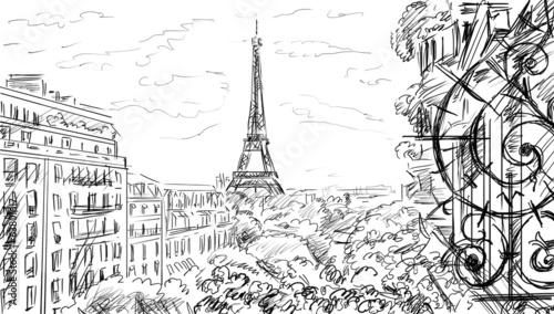 Street in Paris - sketch  illustration Canvas Print