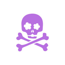 Purple Skull - Romantic Ironic Icon.