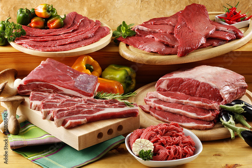 Foto op Canvas Vlees assorted raw beef meat