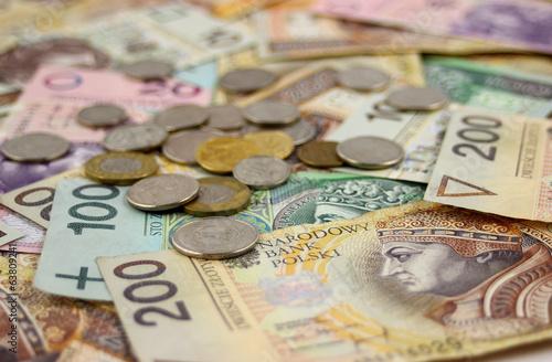 Fotografie, Obraz  Banknoty i monety polskie