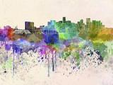 Denver skyline in watercolor background - 63809469