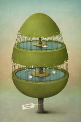 Easter egg made of tree.