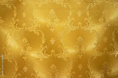 obraz PCV Złoty kwiat rocznika tkaniny tle