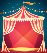 Circus Tent Poster. Vector Ill...