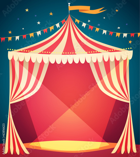 Fototapeta Circus tent poster. Vector illustration. obraz