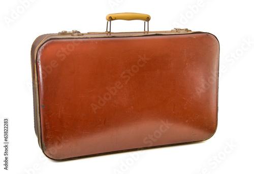 Valokuvatapetti valigia vintage in cuoio rosso