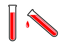 Test Tube With Blood On White ...