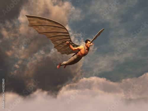 Photo Hombre volando con alas artificiales