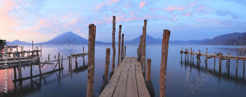 Pier on the Atitlan Lake in Guatemala at Sunrise
