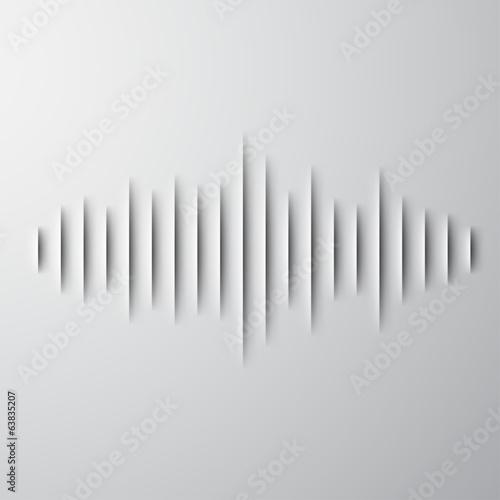 Fotografie, Obraz  Paper sound waveform with shadow