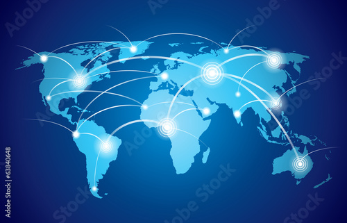Fototapeta World map with global network obraz