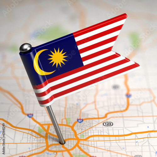 Malaysia Small Flag on a Map Background. Poster