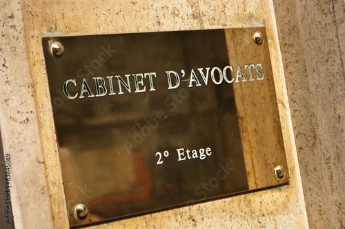 Photo  plaque cabinet d'avocats