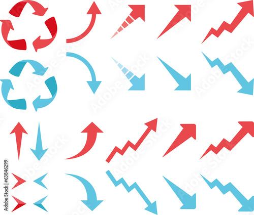 Fotografie, Obraz アップダウンの赤と青の矢印