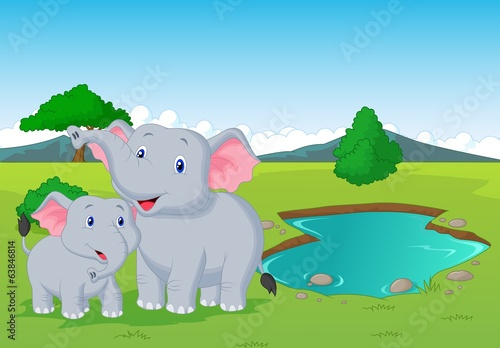 kreskowka-slon-rodzina-blisko-podlewanie-dziury