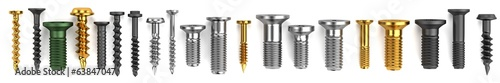 Obraz realistic 3d render of screws - fototapety do salonu