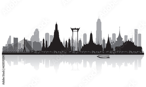 Photo  Bangkok Thailand city skyline silhouette
