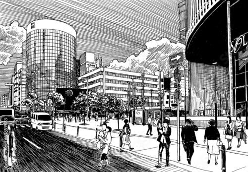 miasto-centrum-biznesu-ulica-z-ruchem-ludzi-i-bank-buildin