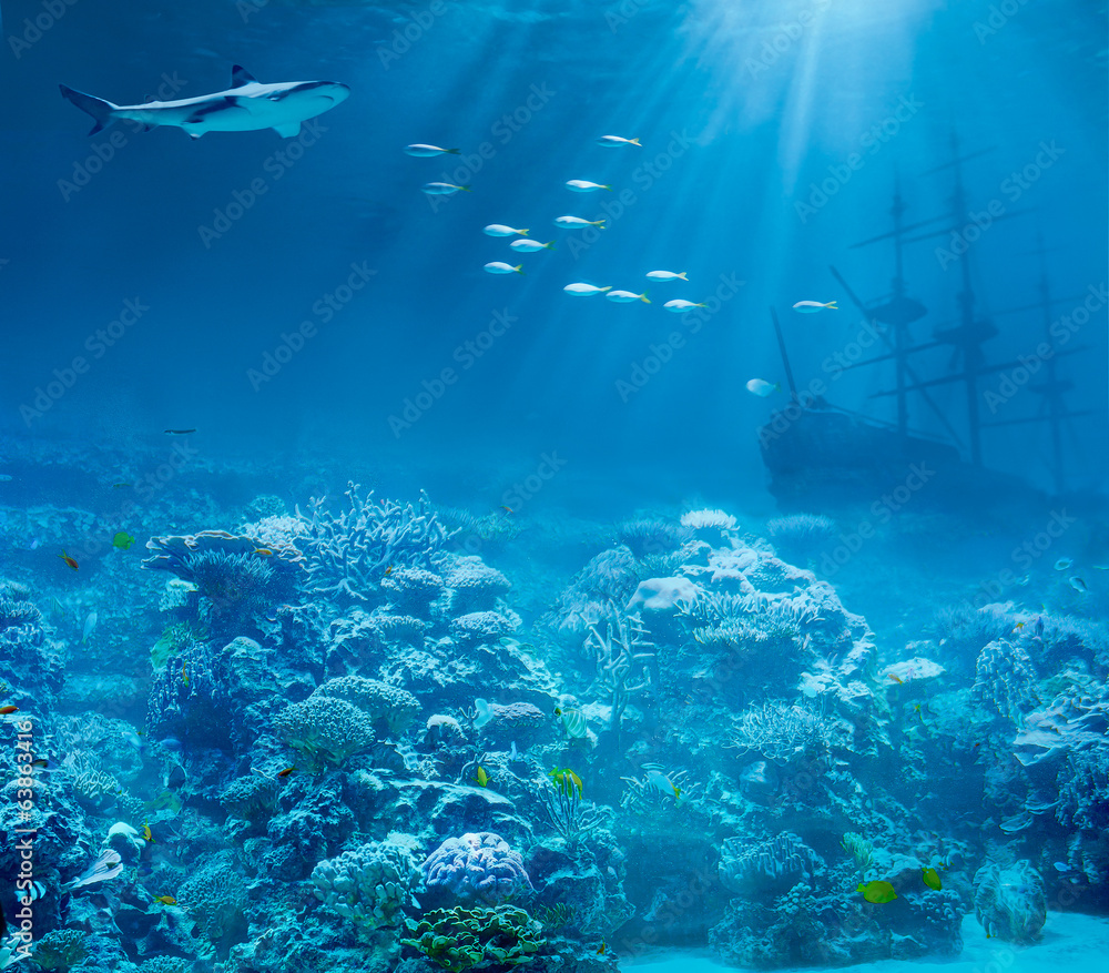 Fototapeta Sea or ocean underwater with shark and sunk treasures ship
