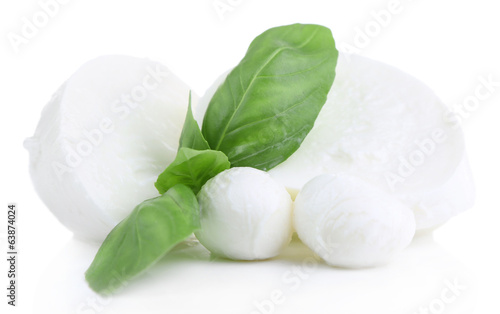 Fotografía Tasty mozzarella with basil isolated on white