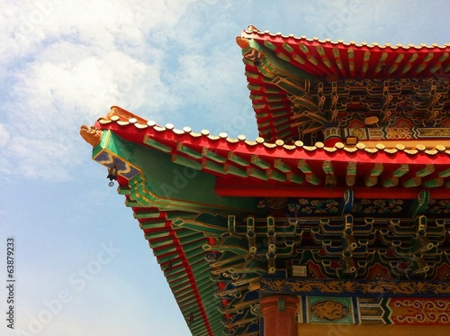 roof of chinese buddhist temple Poster