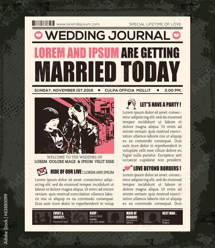 Newspaper Wedding Invitation Design Template Buy This Stock Vector