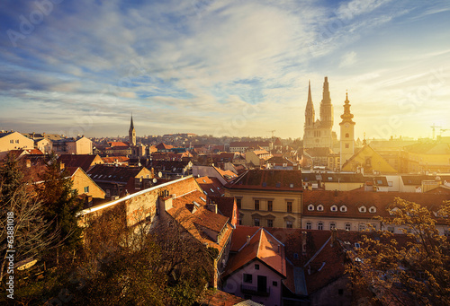 Poster Mediterranean Europe morning view of old Zagreb. Croatia.