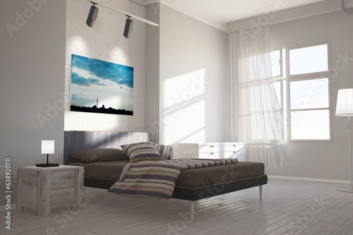 Schlafzimmer mit Leinwand über Bett - Buy this stock illustration ...