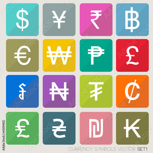 Currency icons set  currency symbols vector (world money) - Buy this