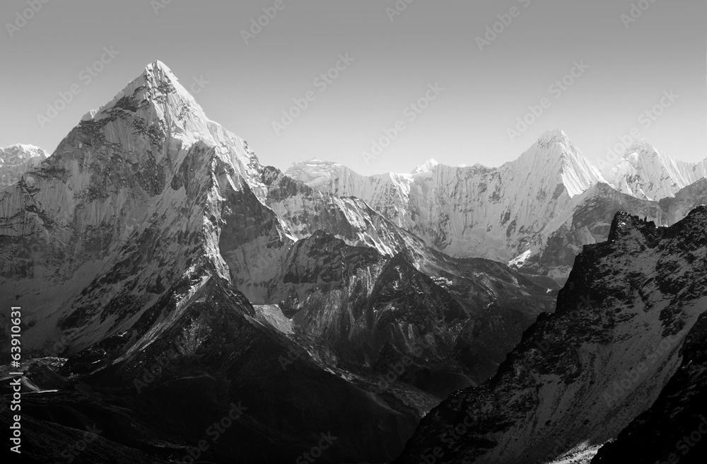 Himalaya Berge Karte.Himalaya Berge Schwarz Und Weiss Foto Poster Wandbilder Bei