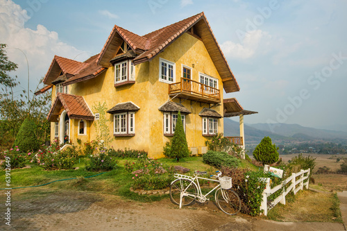 Yellow classic Mountain house on hill, pai, maehongson, thailand Poster