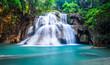 canvas print picture Deep forest waterfall at Huay Mae Khamin, Kanchanaburi Province,