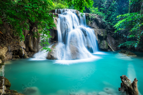 Recess Fitting Waterfalls Huay Mae Kamin Waterfall in Kanchanaburi province, Thailand