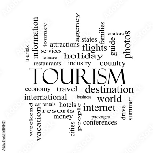 Photo  Tourism Word Cloud Concept in black and white