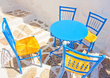 Iron Made Coffee Table And Chairs In Amorgos Island In Greece