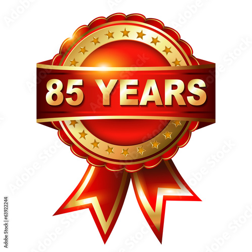 Fotografia  85 years anniversary golden label with ribbon
