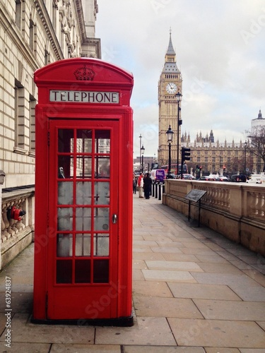 Fotografie, Obraz  Red Telephone Booth and Big Ben in London, UK.