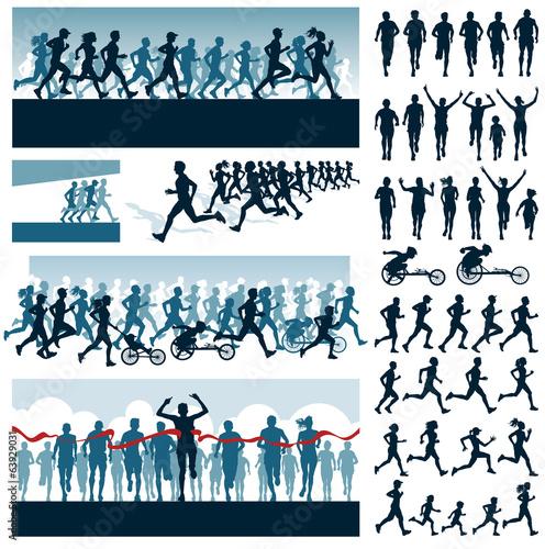 Foto  Vector bearbeitbare Etiketten und Silhouetten von laufenden Menschen
