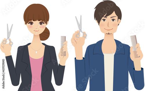 Fotografie, Obraz  美容師(スタイリスト)の男性と女性